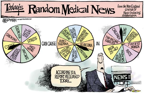 Health and medical research portrayed as a wheel of fortune where coffee can cause depression in twins