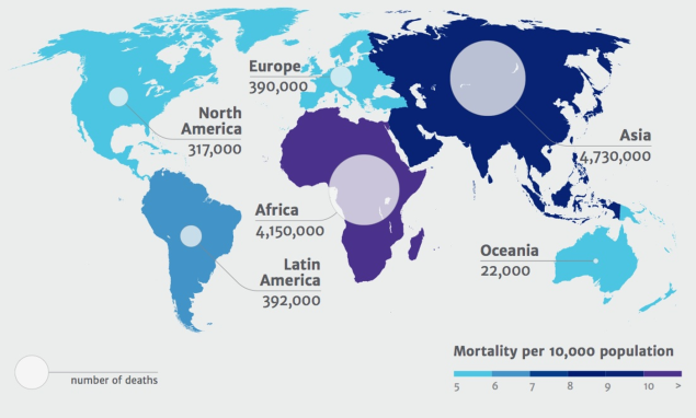 Map of the world showing Predicted deaths due to antimicrobial resistance by 2050
